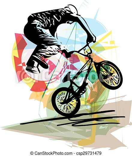 bicycle rider on abstract background - csp29731479