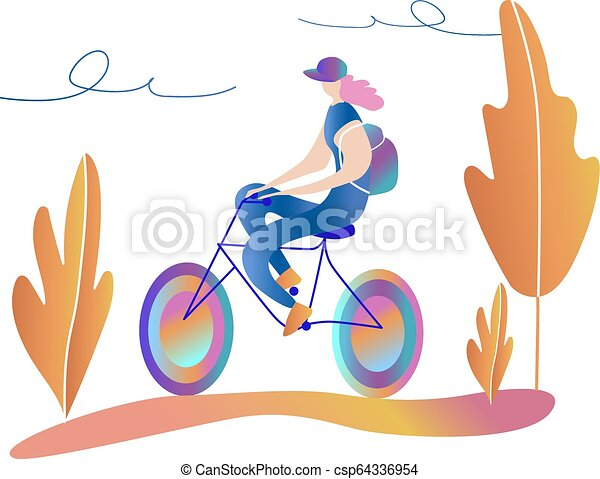 Bicycle riding girl. A walk on the bike. - csp64336954