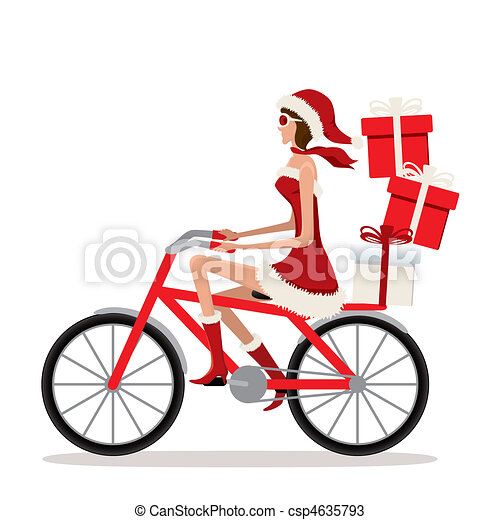 Bicycle Santa Girl - csp4635793