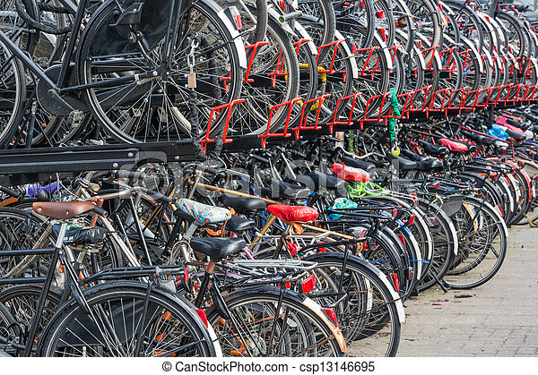 Bicycle shelter in a Dutch city - csp13146695