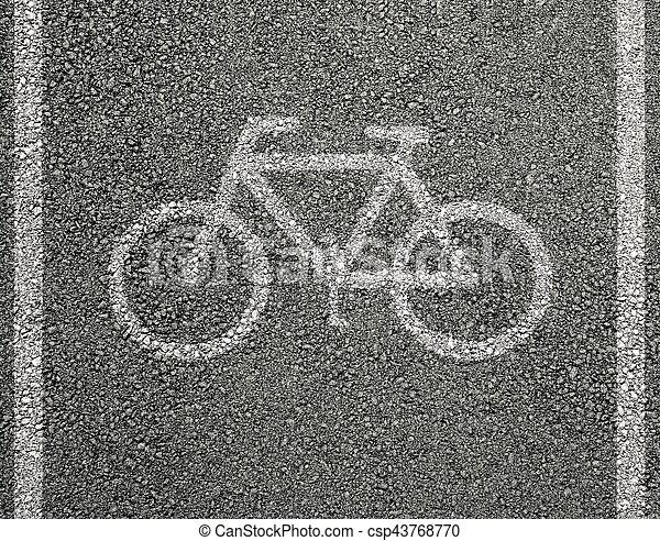 Bicycle sign on asphalt - csp43768770