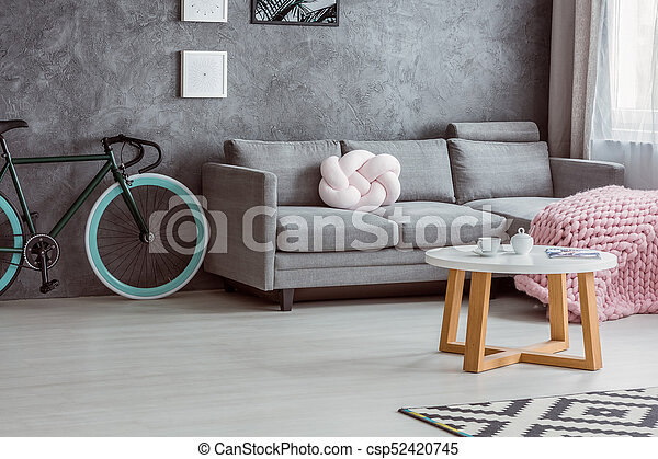 Bicycle, Simple Couch, Coffee Table   Csp52420745