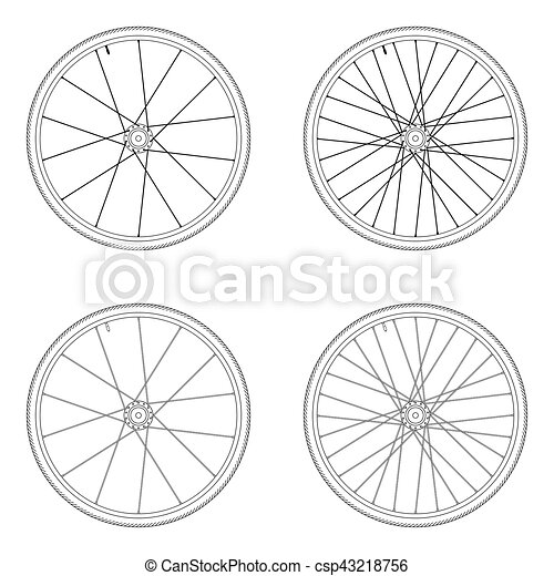 Bicycle Spoke Wheel Tangential Lacing Pattern 2x Black And White