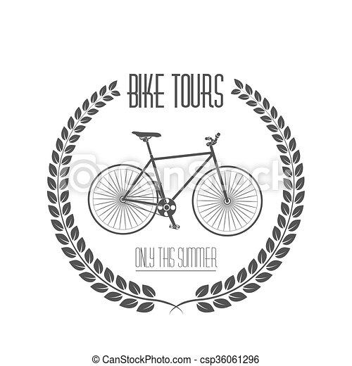 Bicycle tours label. Vintage illustration - csp36061296