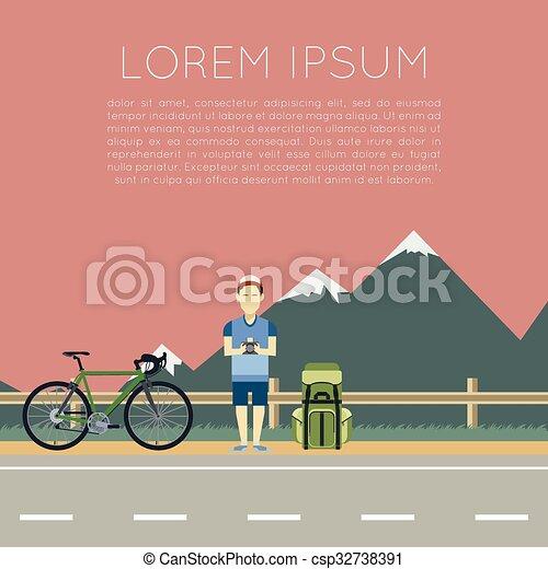 Bicycle trip banner - csp32738391
