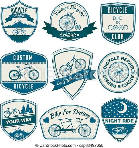 Bicycle Vintage Badges Set - in vector - csp32492658
