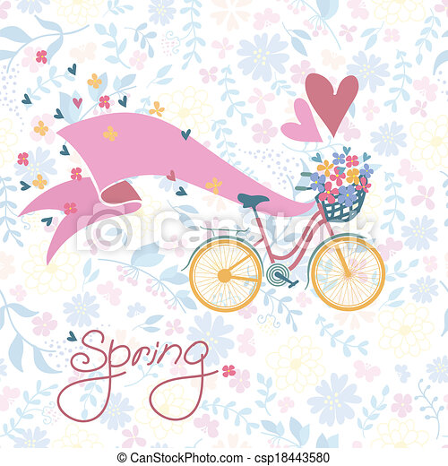 Bicycle with a basket full of flowers. - csp18443580