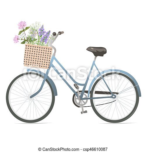 Bicycle with flowers in basket. - csp46610087