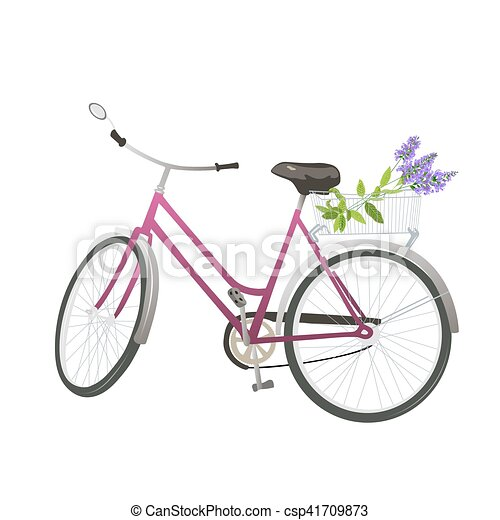 Bicycle with flowers in basket. - csp41709873