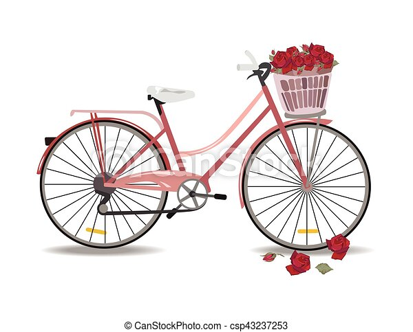 Bicycle with flowers isolated - csp43237253