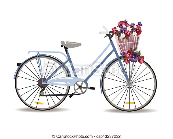 Bicycle with flowers isolated - csp43237232