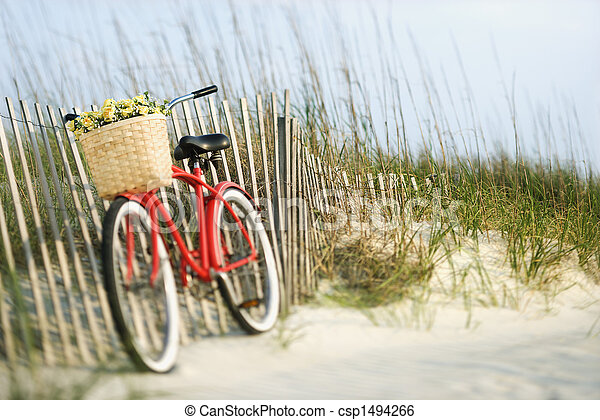 Bicycle with flowers. - csp1494266