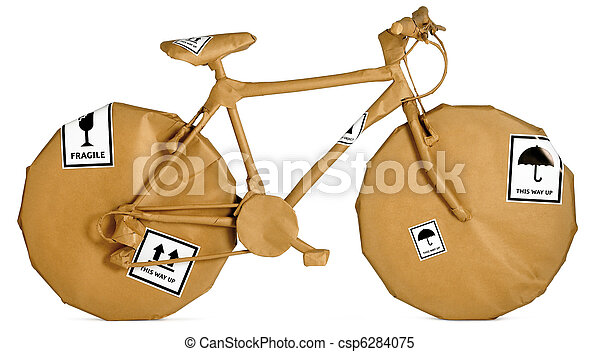 bicycle wrapped in brown paper ready for an office move isolated on a white background  - csp6284075