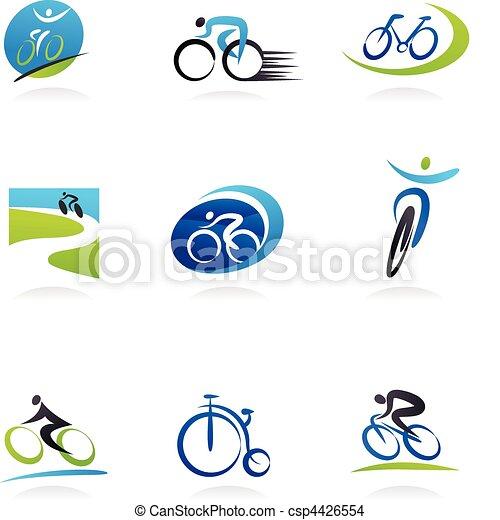 bicycles, ciclismo, ícones - csp4426554