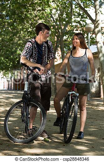 bicycles, para, młody - csp28848346