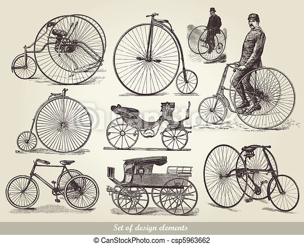 bicycles, set, oud - csp5963662