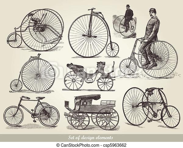 bicycles, set, vecchio - csp5963662