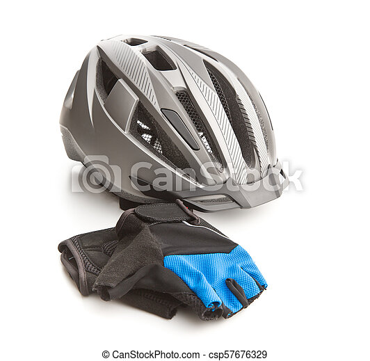 Bicycling helmet and gloves. - csp57676329