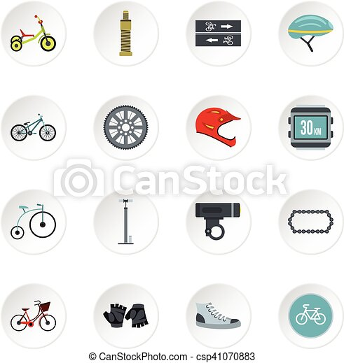 Bicycling icons set, flat style - csp41070883