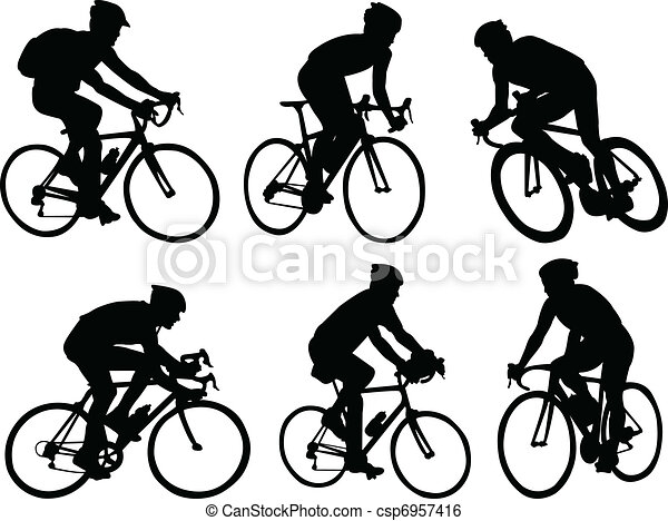 Bicyclists silhouettes - csp6957416