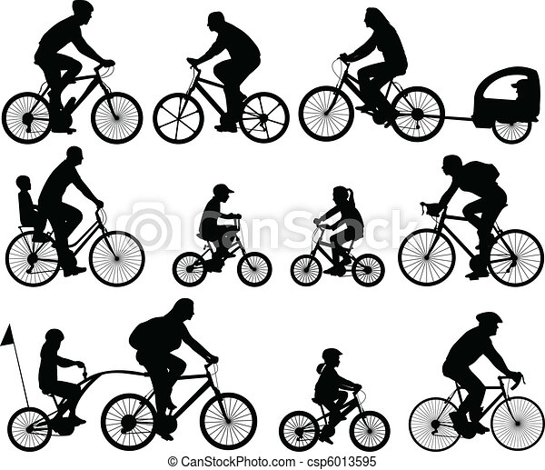 bicyclists silhouettes - csp6013595