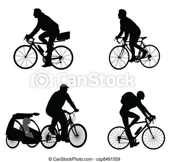 bicyclists silhouettes - csp8491559