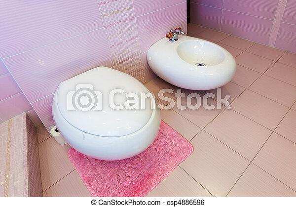 Bonito, cor-de-rosa, banheiro, bidet, wc. on