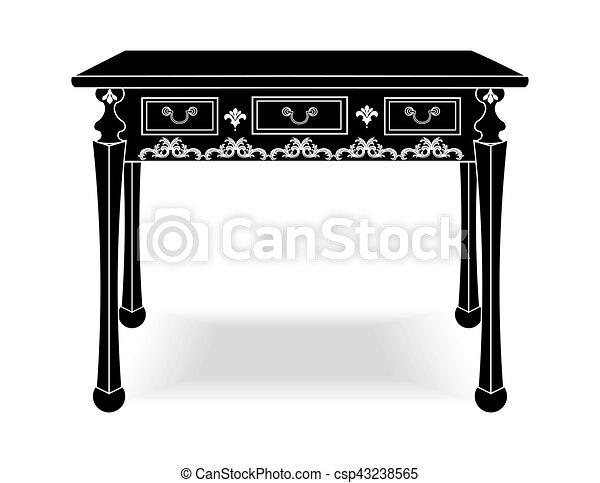 Biedermeier style table with rich ornaments - csp43238565