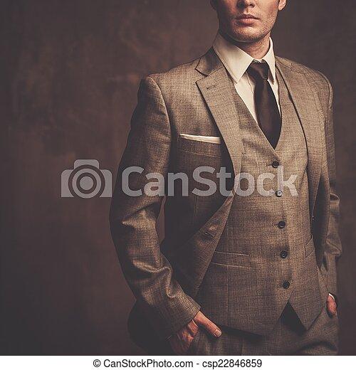 Hombre bien vestido con traje gris - csp22846859