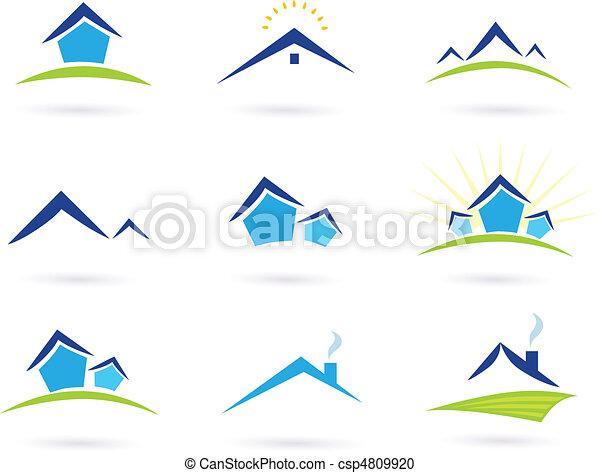 bienes raíces, iconos, /, casas, logotipo - csp4809920