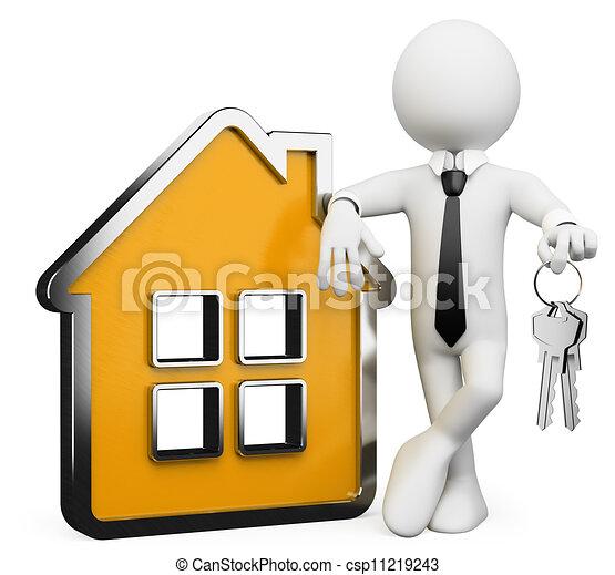 bienes raíces, personas., hombre de negocios, blanco, 3d - csp11219243