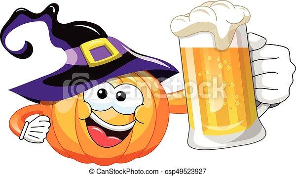 Halloween Bier.Bier Halloween Spotprent Pompoen