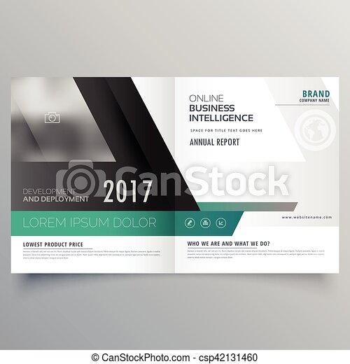 Bifold Brochure Template Design With Abstract Shape Magazine Cover
