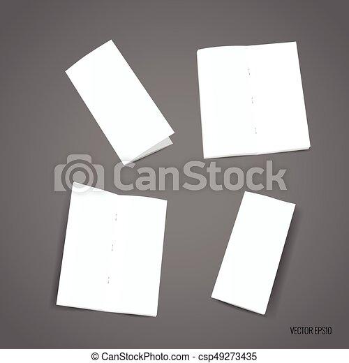 bifold white template paper vector illustration