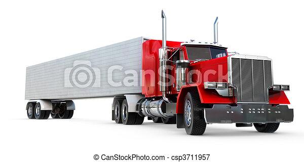 Big 18 Wheeler An 18 Wheeler Semi Truck On White
