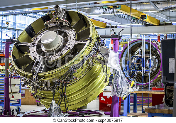 Big airplane engine during maintenance - csp40075917