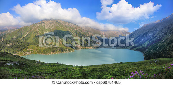 Big Almaty lake surrounded by the Tien Shan mountains - csp60781465