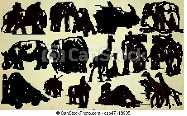 BIG and HEAVY ANIMALS - An hand drawn vector pack, line art - csp47118905