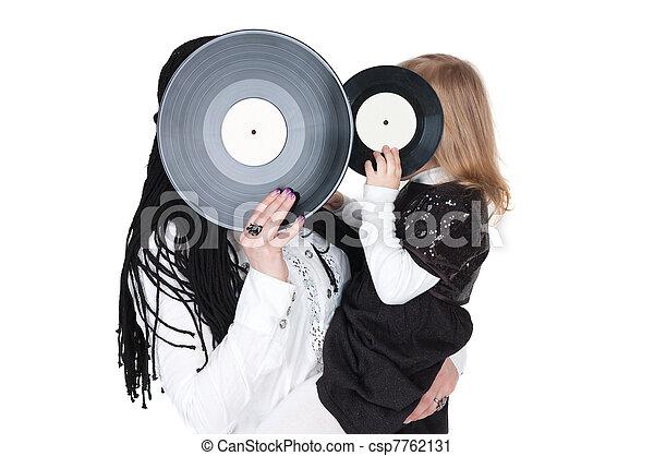 big and little girls with vinyl discs - csp7762131