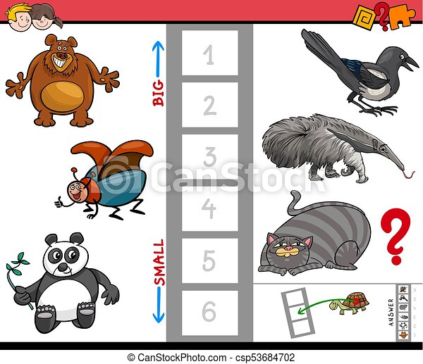 big and small animals educational game for kids - csp53684702