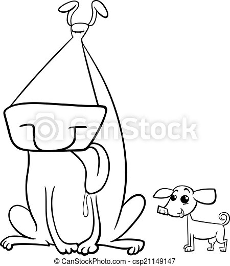 Big and small dogs coloring page. Black and white cartoon ...