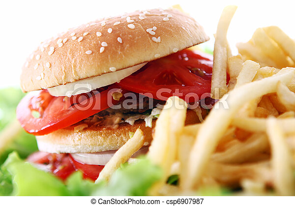 Big and tasty burger with fries - csp6907987