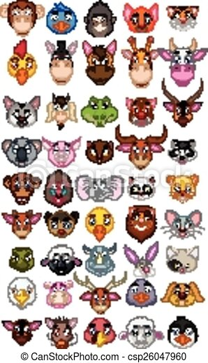 big animal head cartoon collection  - csp26047960