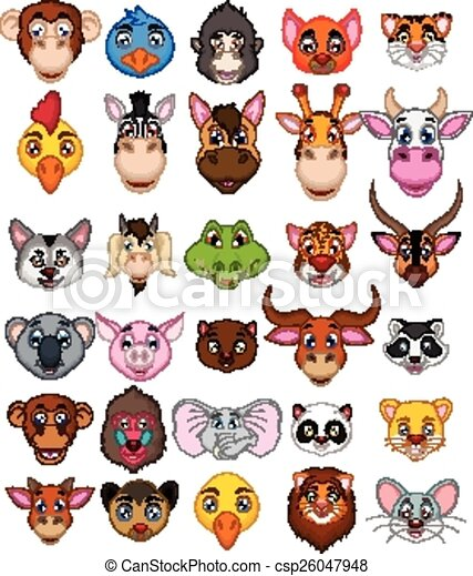 big animal head cartoon collection  - csp26047948