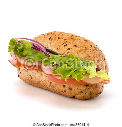 Big appetizing  fast food baguette sandwich with lettuce, tomato, smoked ham and cheese isolated on white background. Junk food subway. - csp6691414