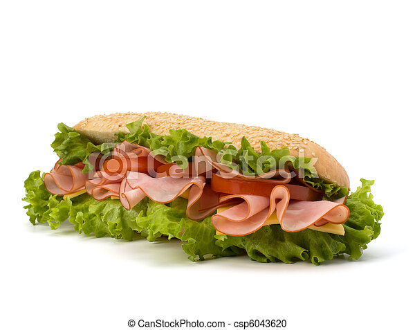 Big appetizing  fast food baguette sandwich with lettuce, tomato, smoked ham and cheese isolated on white background. Junk food subway. - csp6043620
