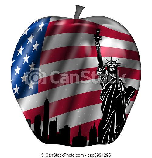 Big Apple with USA Flag and New York Skyline - csp5934295