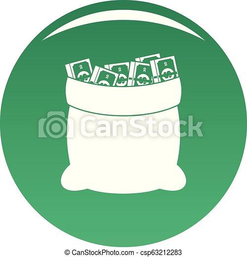 Big bag money icon vector green - csp63212283