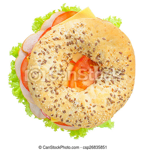 Big bagel sandwich solated (with path) - csp26835851