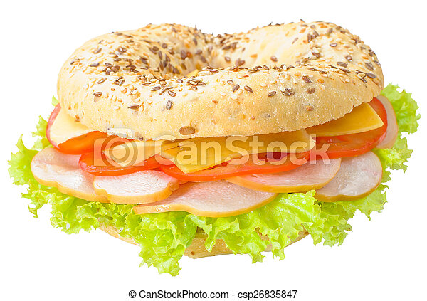 Big bagel sandwich solated (with path) - csp26835847
